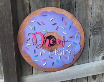 "Donut Custom Name Plaque | Girls Room Decor | Doughnut Sign | Tween Room | Wall Decor | New baby Gift | Girls Nursery | 18-24"" round""Round"