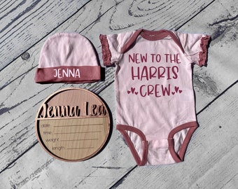 Personalized Birth Announcement Set For Baby girl | Birth Stat Sign, Bodysuit and Hat | Hospital Name Sign | Newborn Photo Prop