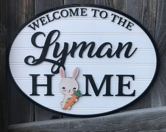 "Interchangeable Personalized welcome sign | welcome to our home 15"" by 20"" 