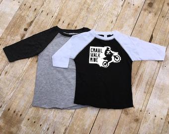 Crawl walk ride shirt. Toddler and youth sizes. baseball style shirt. Motocross shirt. Dirtbike shirt.  Kids motocross shirt.