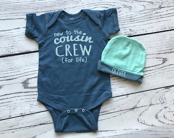 New to the Cousin Crew bodysuit and hat for newborn boy. Personalized Gift. New to the Crazy Cousin Crew . Newborn baby boy gift.