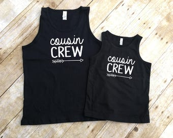 Cousin Crew. Cousin Crew Black tanks. Cousin Squad. Cousin tribe. Family shirt set. Unisex, toddler, Womens and Youth sizes.