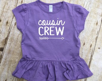 Cousin Crew Ruffle Shirt. Cousin Crew shirts. Cousin Squad. Cousin tribe. Family shirt set. Girls and Toddler sizes Cousin Best Friends