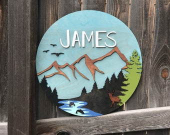 """Mountain, deer and River Name Plaque 