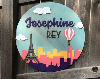 Travel Nursery Theme sign | Paris Theme | Eiffell Tower | Modern Name sign | Nursery Decor | New baby Gift | Hot Air Balloon