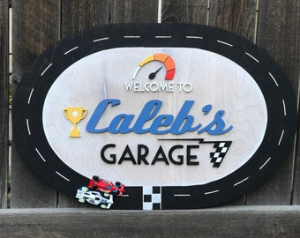 Race Car Name Sign | Boys Nursery Decor | Nursery Decor | New baby Gift | Checkered Flag | Personalized sign | Transportation theme
