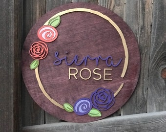 "18"" 20"" or 22"" Round Rose Wreath Name Wood Sign 
