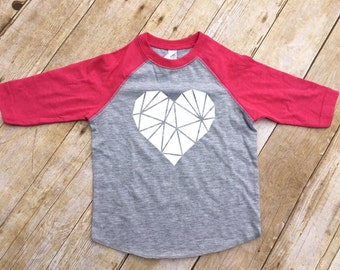 Geometric heart. Valentine's Day shirt. Valentines Kids shirt. Low poly heart shirt. Fast shipping! Message me for inventory!