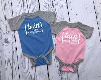 Born together Friends Forever. Twins one-piece set. Twin baseball one-piece set. Raglan bodysuits.  newborn twins outfit. Twins outfit.