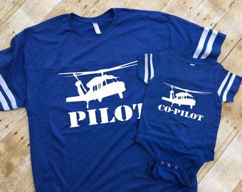 Pilot and Co-pilot Black Hawk helicopter. Pilot co-pilot shirts. Pilot gift. Daddy and me shirts. Fathers Day gift. Matching shirts.