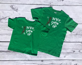 Never Grow up!  Peter Pan mommy and me set. Tinker Bell Mommy and me shirts. Matching tank and shirt - Sold individually!