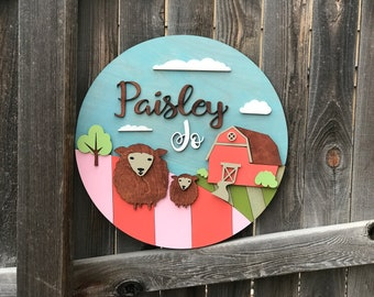 "Wooden Sheep Name Sign | Girls or Boys Room Decor | Farm Theme | New baby Gift | Girl or Boy Nursery Decor | 18"", 20"" or 22"" circle"