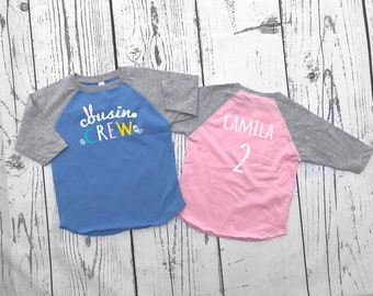 Personalized Easter Cousin shirts. The Original Cousin Crew shirt. Personalized cousin shirt. All Sizes NB- 3XL. 3/4 sleeve raglan shirt.