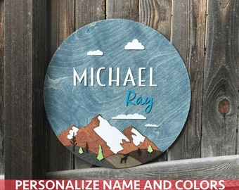 "18"" 20"" or 22"" Round Mountain Landscape Name Plaque 