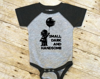 Small Dark and Handsome bodysuit. Fandom Baby gift. Raglan one-piece. Nerdy baby gift. Geek baby gift.