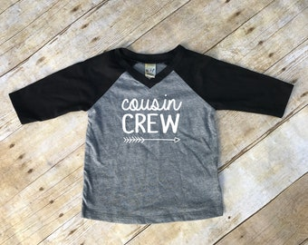 Cousin Crew. Infant Cousin Crew Black & Dark Heather 3/4 sleeve Raglan. Cousin Squad. Cousin tribe. Family shirt set.