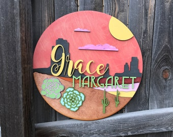 "Personalized Cactus Name Sign | Nursery Decor | Baby shower gift | New baby Gift | Cactus Sunset 18, 20, 22, 24"" Round - customize colors!"
