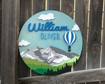 Travel Nursery Theme sign | Modern Mountain Name sign | Nursery Decor | Baby Wall Decor | New baby Gift | Hot Air Balloon