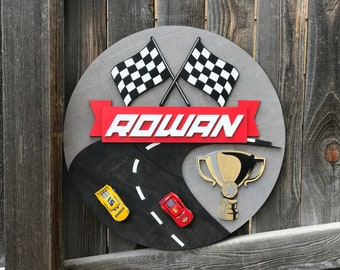 "Race Car Name Plaque | Boys Room Decor | Car Sign | Baby Nursery Decor | New baby Gift | Checkered Flag | 18"", 20"" or 22"" 