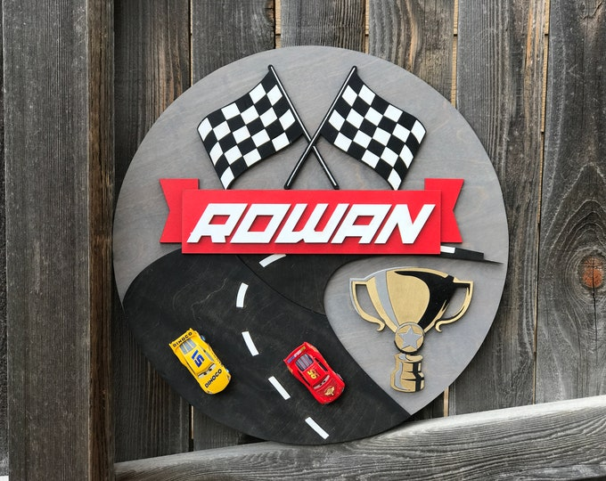 "Featured listing image: Race Car Name Plaque | Boys Room Decor | Car Sign | Baby Nursery Decor | New baby Gift | Checkered Flag | 18"", 20"" or 22"" 