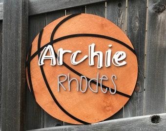 "Basketball Wooden Name Sign   Boys Room Decor   Round Name Plaque   New baby Gift   Boys Nursery Decor 18"" 20"" or 22"" Round"
