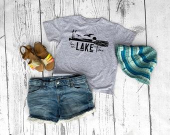 I am on Lake time shirt. Lake vacation shirts. The Lake is my happy place.  Sizes NB -3XL Lake Bum