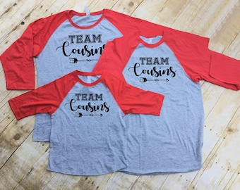 Team Cousins. Cousin Crew shirts. Cousin Tribe shirts. Cousin Squad shirts. Cousin tribe. 3/4 sleeve raglan shirt set.