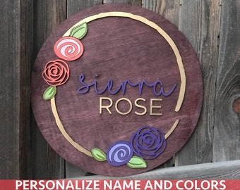 "18"" 20"" or 22"" Round Rose Wreath Name Wood Plaque 