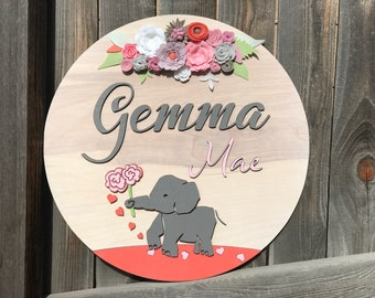 "Floral Elephant Name Plaque | Girls Room Decor | Floral Name Sign | baby Gift | Girls Nursery Decor| Baby Elephant | 18"" 20"" or 22"""