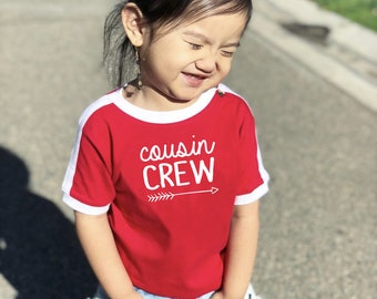 The Original Cousin Crew shirts. Cousin Tribe or Cousin Squad shirts. All Sizes NB - 3XL. Soccer Ringer shirt Ships in 4-6 business days!