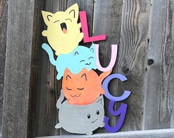 "Wooden Stacked Cats Name Sign   Girls or Boys Room Decor   Kawaii Cats   Tween Room decor   Girl or Boy Nursery Decor   16"" 18"" 20"" or 22"""