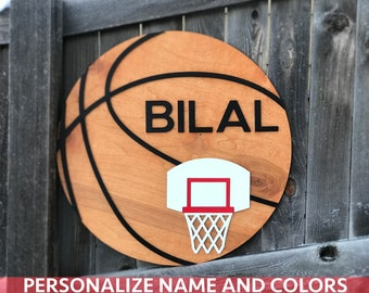 "18"" 20"" or 22"" Round Basketball Wooden Name Sign 