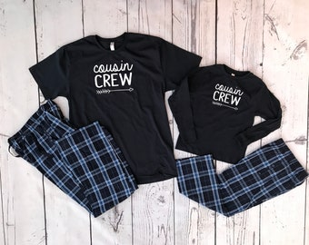 The Original Cousin Crew Navy Christmas Pajama set. Youth, Lady and Unisex sizes. Holiday Pajama sets. Family Reunion Shirts