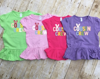 Easter Cousin Crew Ruffle Shirt. Cousin Crew shirt. Cousin Squad. Cousin tribe. Family shirt set. Girls and Toddler sizes Cousin Best Friend