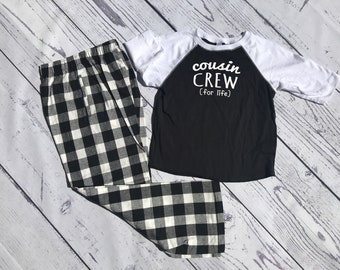 Cousin Crew (for life) Buffalo Plaid Christmas Pajama set. Youth and Adult Black and White. Holiday Pajama sets. Family Reunion Shirts