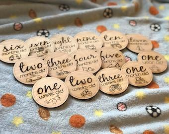 Baby Boy Milestone Cards | Wooden Milestone Plaques | Monthly Milestones | Baby Age Photo Props | Age Milestones | Baby Shower Gift