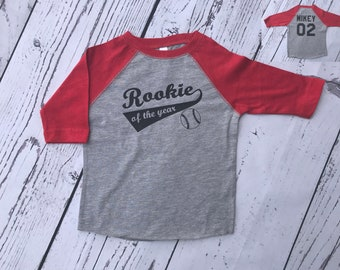 Rookie of the Year shirt with Personalized back. Kids baseball shirt Infant, Toddler and youth sizes. Raglan style shirt.