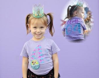 Girls Birthday shirt. Mermaid Birthday Shirt (Any Age) . Mermaid shirt. Mermaid Birthday theme. Customize name and birth age!