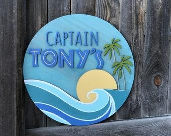 "Nautical Name Sign | Girls or Boys Room Decor | Nautical Nursery | OceanTheme | New baby Gift | 18, 20, 22, or 24"" circle"