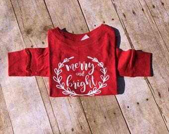 SALE! 2T Ready to ship! Merry and Bright Ready to ship long sleeve shirt. Christmas shirt. Xmas shirt. Christmas Clothing. SALE!