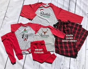 Holiday Christmas Pajama set. Santa's Helper, Rudolph's Handler or Little Elf. ALL sizes. Family Pajama Sets. Holiday Pajama sets.
