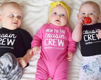 New to the Cousin Crew full body romper. Cousin Crew shirts. Cousin Squad. Cousin tribe. Cousin Best Friends. Family Reunion shirts.