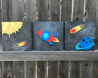 Outer Space nursery | 3 Piece set | Galaxy Room Decor | Outer Space wall art | New baby Gift |  celestial nursery Decor | Customize Colors