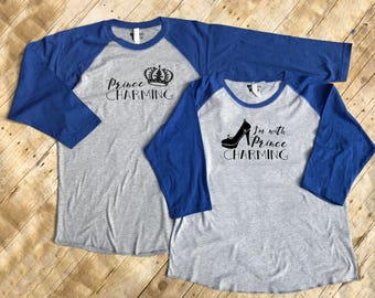 I'm with Prince Charming and Prince Charming Mr and Mrs set. Mommy and Me set. Cinderella Husband and wife set. Matching shirts