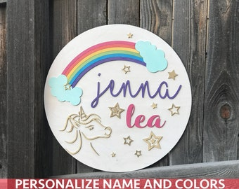 "18"" 20"" or 22"" Round Rainbow and Unicorn Name Plaque 