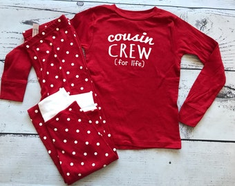 Youth Cousin Crew (for life) Pajamas. The Original Cousin Crew Youth sizes 8, 10, 12 and 14. Cousin Pajama sets. Family Reunion Shirts