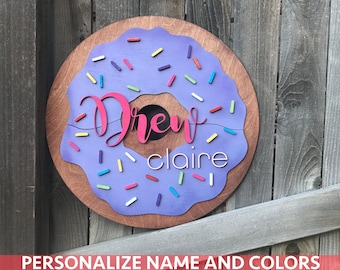 "18"" 20"" or 22"" Round Donut Custom Name Plaque 