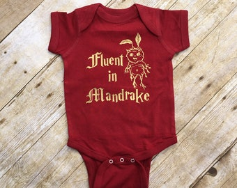 Fluent in Mandrake. Wizard Baby. Wizard Shirt. Infant Bodysuit. Wizard School. Wizard Baby Shower gift. Fast Shipping!