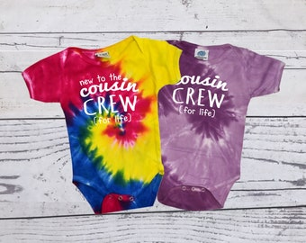 Cousin Crew (for life) Tie Dye bodysuit. The original Cousin crew shirts. DOES NOT include NAME or Number Link in item description!