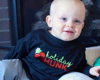 Boys Holiday shirt. Holiday Hunk shirt. Long sleeve one-piece or shirt. Christmas one-piece. Holiday one-piece. Fast shipping!